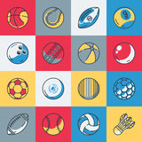 Sport balls icons set. Vector illustration Royalty Free Stock Images