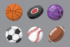 Sport balls isolated tournament win round basket soccer equipment and recreation leather group traditional different Royalty Free Stock Photos
