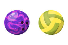 Sport balls isolated tournament win round bowling equipment and recreation volleyball leather group traditional Royalty Free Stock Photography