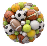 Sport balls isolated on white background. 3D illustration Royalty Free Stock Photos