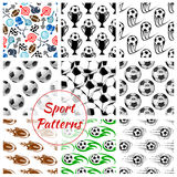 Sport balls and items seamless patterns set Royalty Free Stock Image