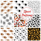 Sport balls, items seamless patterns set Royalty Free Stock Photography