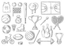 Sport balls, items sketch  icons Stock Images