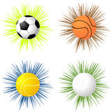 Sport balls over starburst Royalty Free Stock Image