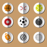 Sport Balls papaer fold icons set Stock Photos