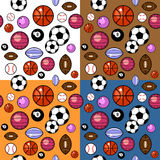Sport balls pattern in four different colors Royalty Free Stock Photography