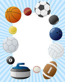 Sport Balls Photo Frame. Invitation card or page for your scrapbook. Eps file available Stock Photo