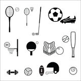 Sport balls and rackets icons Stock Photography