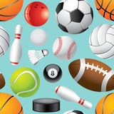 Sport balls seamless background in  Royalty Free Stock Photography