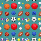 Sport balls seamless pattern background tournament win round basket soccer equipment vector illustration. Royalty Free Stock Photography