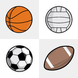 Sport balls. Set of different sport balls. Football, basketball, volleyball and soccer balls. Vector illustration Stock Photo