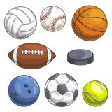 Sport balls set. Hand drawn color pencil sketch icons. Royalty Free Stock Image