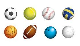 SPORT BALLS SET. Obligatory sport balls set for soccer, tennis, baseball, volleyball, basketball, rugby, bowling and handball Royalty Free Stock Photo