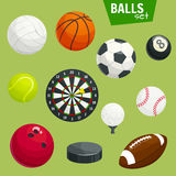 Sport balls set. Sports gaming accessories. Sport balls icons set. Sports gaming accessories. Graphic elements of rugby, football, soccer, baseball, basketball Stock Photos