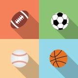 Sport balls set, vector flat style. Football, rugby ball baseball, basketball Stock Photo