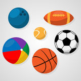 Sport balls. Set of sport balls on white background soccer or football, basketball, rugby, tennis, bowling, beach ball. Healthy recreation, leisure. Activities Royalty Free Stock Photo