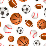 Sport balls for soccer, basketball, baseball and rugby on white, seamless pattern Stock Photo