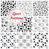Sport balls, sports seamless patterns set Royalty Free Stock Photography