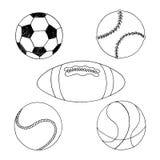 Sport Balls for team play. Hand drawn sport balls illustration isolated on white background vector illustration