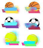 Sport balls vector banners set Royalty Free Stock Photos