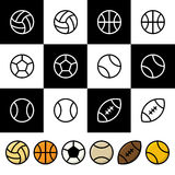 Sport balls vector icon set Stock Image