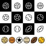 Sport balls vector icon set Stock Image