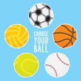 Sport balls vector illustration set on blue background Stock Photo