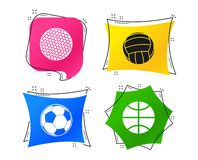 Sport balls. Volleyball, Basketball, Soccer. Vector. Sport balls icons. Volleyball, Basketball, Soccer and Golf signs. Team sport games. Geometric colorful tags vector illustration