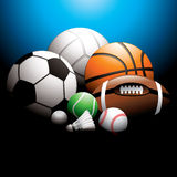 Sport balls. Volleyball, football, basketball, tennis ball, badminton ball, golf ball, baseball and rugby on background stock illustration