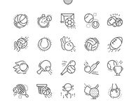 Sport Balls Well-crafted Pixel Perfect Vector Thin Line Icons 30 2x Grid for Web Graphics and Apps. royalty free illustration