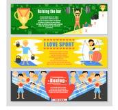 Sport banner set. Boxing banner. Vector illustration. Flat style. Stock Image