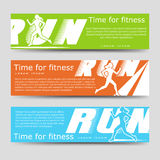 Sport banners template with running woman Royalty Free Stock Image