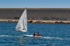 Sport barcelona boat. The Sport of barcelona boat royalty free stock images