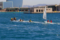 Sport barcelona boat. The Sport of Barcelona boat stock photos