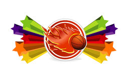 Sport basketball and fire ball sign. On the colored stars Stock Image