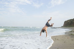 Sport on the beach. Fighter training on the beach Stock Photography
