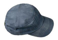 Sport bedeckt lokalisiert auf einem weißen Hintergrund mit einer Kappe Blaue Kappe Stockbilder