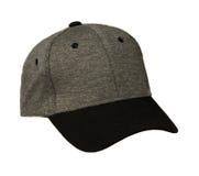 Sport bedeckt lokalisiert auf einem weißen Hintergrund mit einer Kappe Graue Kappe mit Schwarzem Lizenzfreies Stockbild