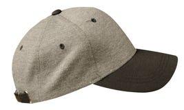 Sport bedeckt lokalisiert auf einem weißen Hintergrund mit einer Kappe Graue Kappe mit Schwarzem Lizenzfreie Stockfotos