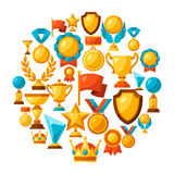 Sport of bedrijfsachtergrond met toekenningspictogrammen Stock Afbeelding