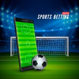 Sport betting online. Mobile phone with soccer field on screen and realistik football ball in front. Soccer stadium on background. Vector illustration Royalty Free Stock Photos