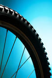 Sport bicycle tire on the blue Stock Photos