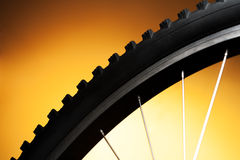 Bicycle tire on the orange Stock Photo