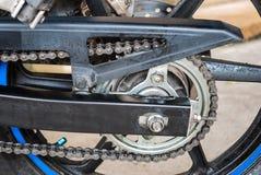 Sport Bike's Chain on Rear Wheel Stock Image