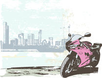 Sport bike. Vector illustration of  sport bike on the grunge urban background Royalty Free Stock Photos