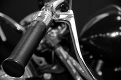 Sport bike bar handle in B&W Stock Photos