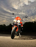 Sport Bike at Dusk. Sport Bike parked at Dusk on kickstand royalty free stock photo
