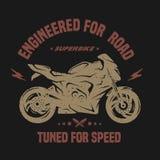 Sport bike. Emblem, t-shirt graphics. Royalty Free Stock Photos