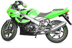 Sport bike. Green color sport./stunt bike on white background Royalty Free Stock Photography