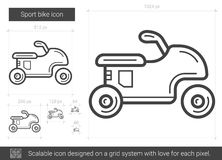Sport bike line icon. Sport bike vector line icon isolated on white background. Sport bike line icon for infographic, website or app. Scalable icon designed on Royalty Free Stock Photo
